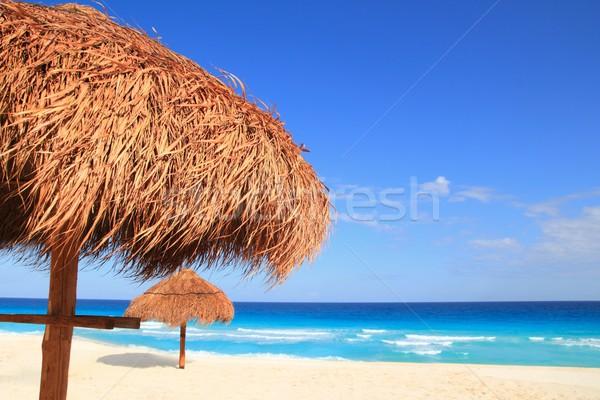 Zon dak parasol caribbean achtergrond zomer Stockfoto © lunamarina