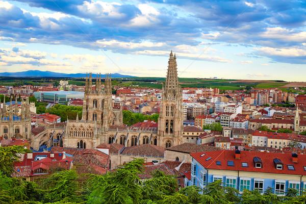 Burgos aerial view skyline sunset with Cathedral Stock photo © lunamarina