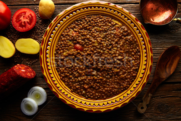 Lentil soup plate Mediterranean recipe aged wood Stock photo © lunamarina