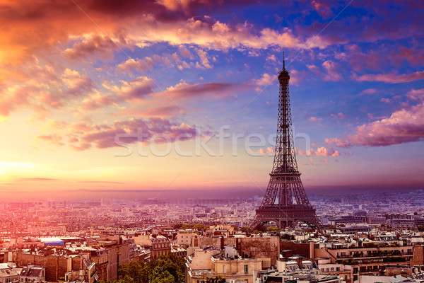 Stok fotoğraf: Paris · Eyfel · Kulesi · ufuk · çizgisi · Fransa