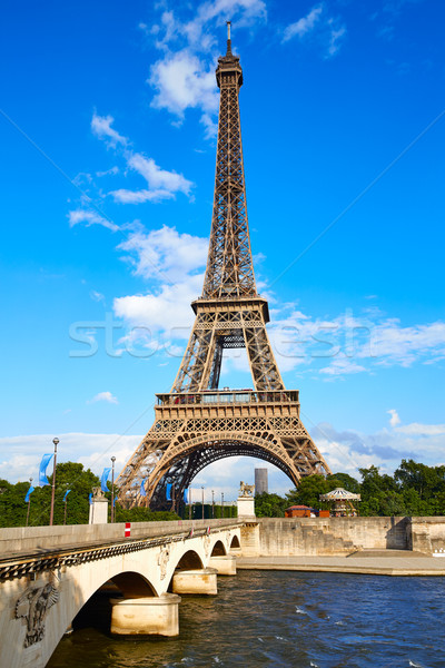 Eiffel Tower in Paris under blue sky France Stock photo © lunamarina