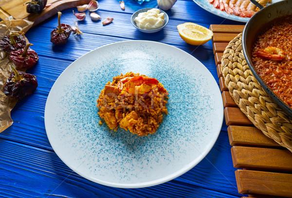 Frutos do mar arroz Espanha Valência comida madeira Foto stock © lunamarina