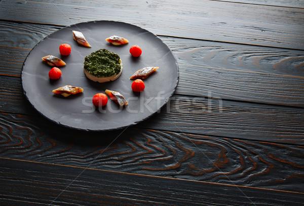 sardine with pannacotta codium and tomato Stock photo © lunamarina