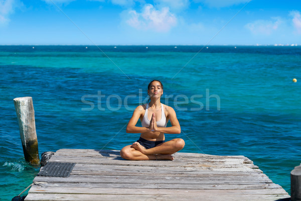 Foto stock: Mujer · yoga · relajante · Caribe · playa · muelle
