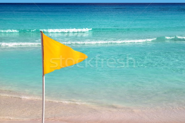 beach yellow flag weather indication signal Stock photo © lunamarina
