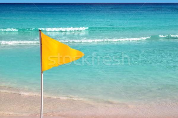 beach yellow flag weather indication signal Stock photo © lunamarina