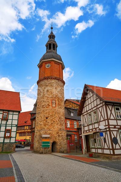 塔 ドイツ 古い 空 市 青 ストックフォト © lunamarina