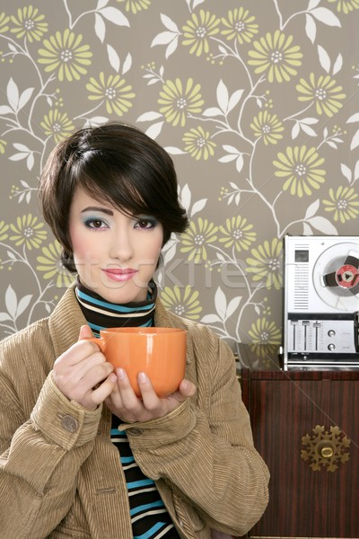 coffee cup drinking retro fashion 60s woman Stock photo © lunamarina