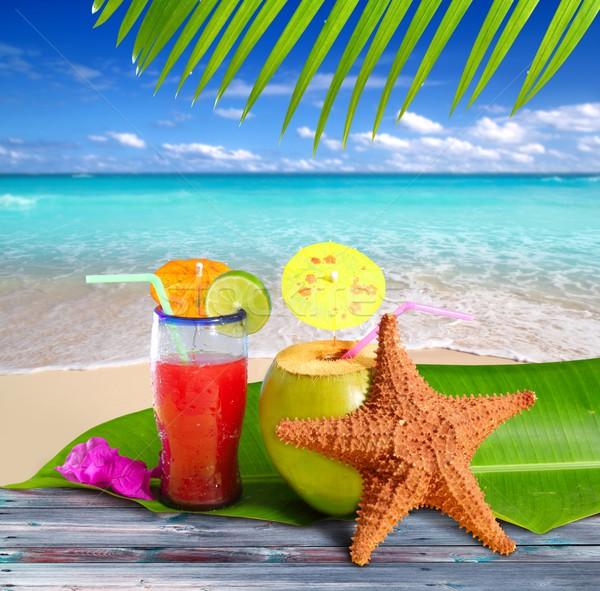 Photo stock: Noix · de · coco · cocktails · paille · plage · tropicale · starfish · tropicales