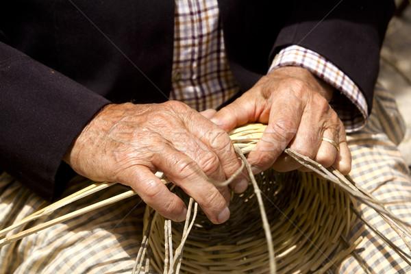 basketry craftsman hands working in Mediterranean basket Stock photo © lunamarina