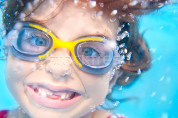 children girl funny underwater with goggles Stock photo © lunamarina