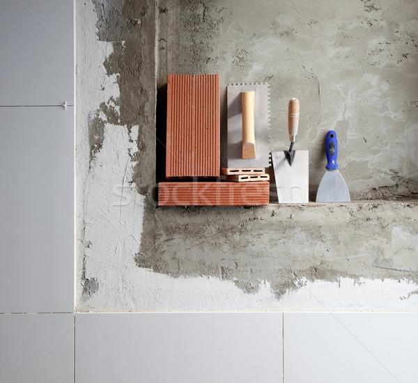 Photo stock: Construction · acier · inoxydable · outils · briques · ciment · bâtiment