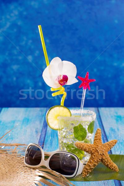 Stockfoto: Mojito · cocktail · caribbean · tropische · Blauw · hout