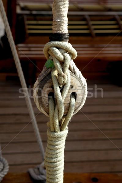 Sailboat wooden marine rigs and ropes Stock photo © lunamarina