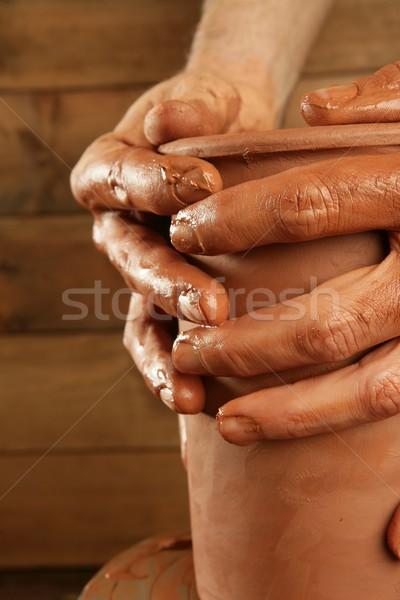 Cserépedények agyag kezek munka piros ujj Stock fotó © lunamarina