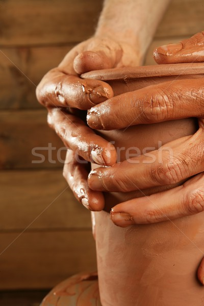 Stockfoto: Aardewerk · klei · handen · werk · Rood · vinger