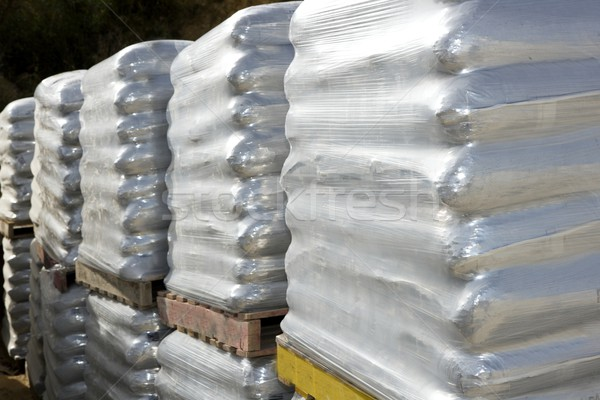 sandbags bags white pallet sacks stacked Stock photo © lunamarina
