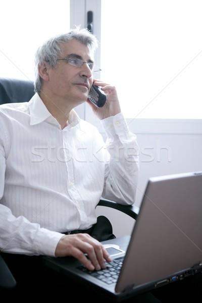 businessman working laptop, senior gray hair Stock photo © lunamarina