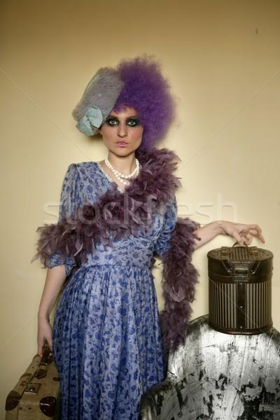 современных моде женщину багаж домой лице Сток-фото © lunamarina
