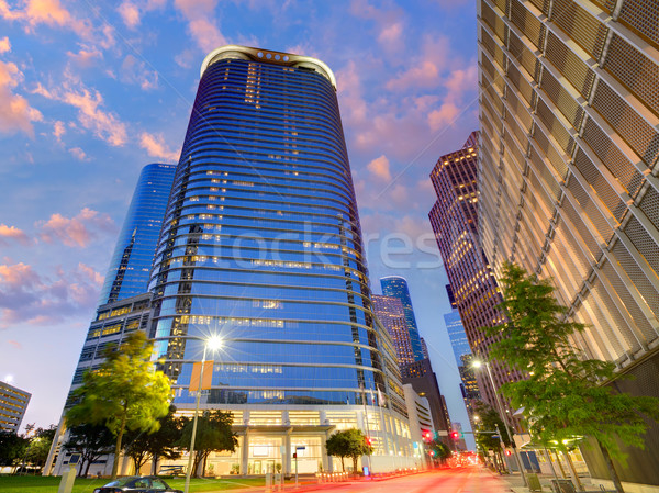 Houston Downtown skyline sunset at Texas US Stock photo © lunamarina