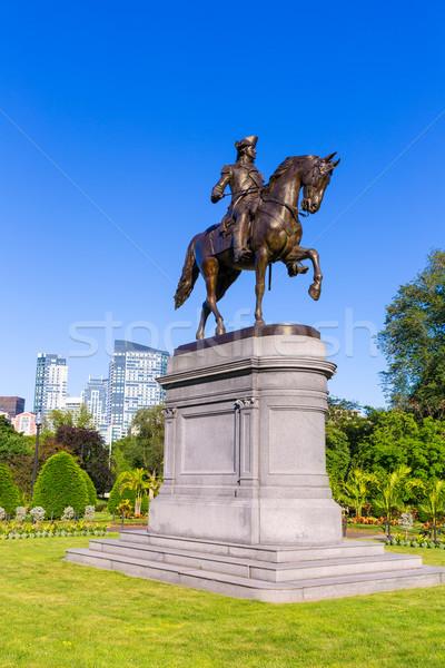 Бостон Монумент Вашингтона Массачусетс США лошади войны Сток-фото © lunamarina