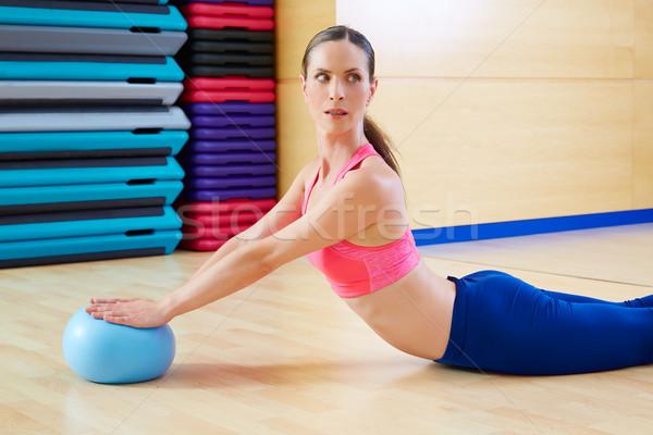 Pilates nő stabilitás labda hattyú testmozgás Stock fotó © lunamarina