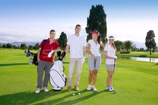 Golf sahası insanlar grup genç oyuncular takım Stok fotoğraf © lunamarina