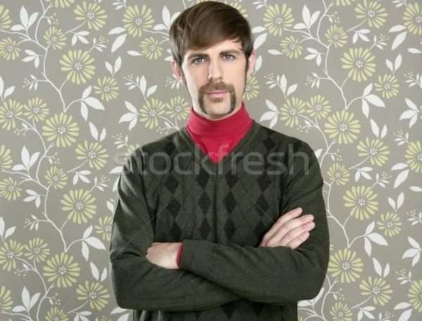 Stock photo: mustache retro salesman geek portrait