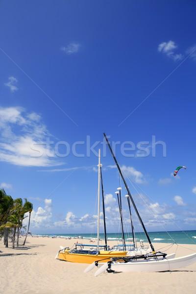 Форт-Лодердейл катамаран пляж Флорида Blue Sky небе Сток-фото © lunamarina