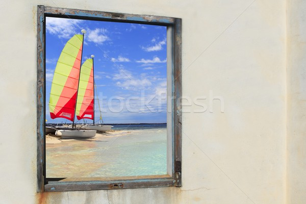 Formentera beach hobie cat Illetes window view Stock photo © lunamarina