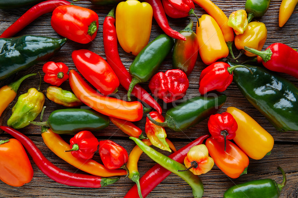 Mexican hot chili peppers colorful mix Stock photo © lunamarina