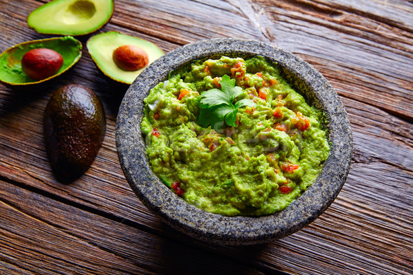avocado Guacamole on molcajete real Mexican Stock photo © lunamarina