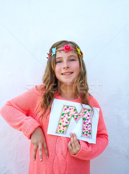 Blond kid girl painted M letter deaf alphabet  Stock photo © lunamarina