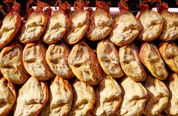 Jamon serrano ham from Spain whole in a row Stock photo © lunamarina