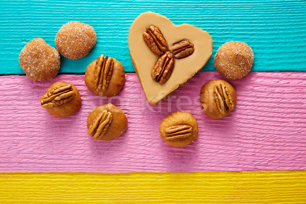 Mexican candy sweets cajeta heart with pecan Stock photo © lunamarina