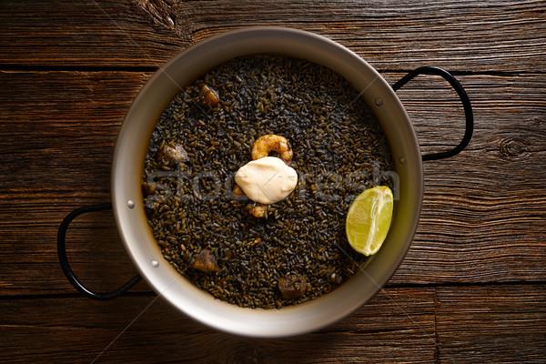 Schwarz Reis Rezept zwei Hintergrund Abendessen Stock foto © lunamarina