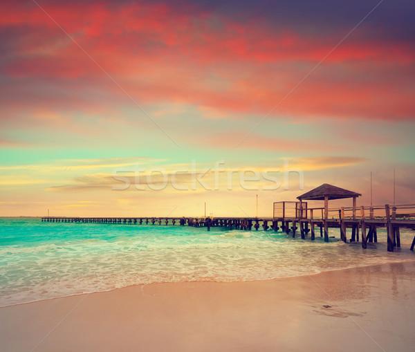 Cancun tengerpart naplemente Mexikó hotel égbolt Stock fotó © lunamarina