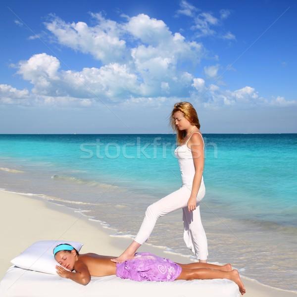 back walking shiatsu massage Caribbean beach Stock photo © lunamarina