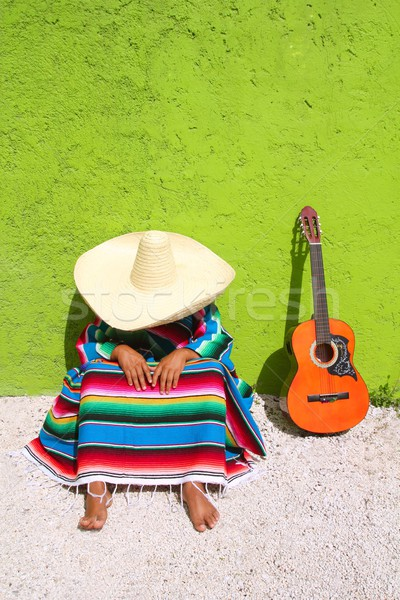 Pisolino pigro tipico mexican sombrero uomo Foto d'archivio © lunamarina