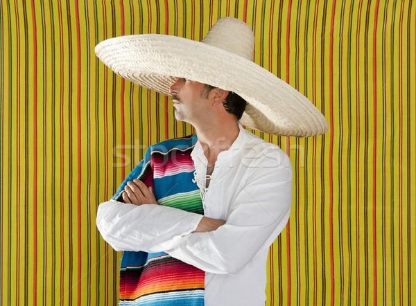 Mexicano bigode homem sombrero retrato camisas Foto stock © lunamarina