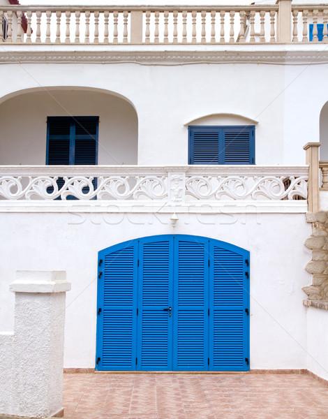 Mediterranean house facade on Alcudia beach of Mallorca Stock photo © lunamarina