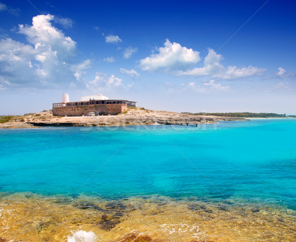 Rocky shore of formentera turquoise sea Stock photo © lunamarina