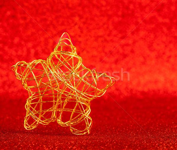 Foto stock: Natal · ouro · arame · estrela · vermelho · brilho