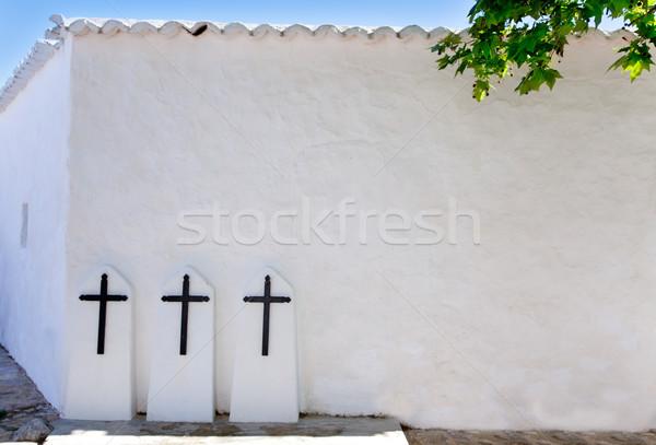Ibiza Santa Agnes de Corona Ines white church Stock photo © lunamarina