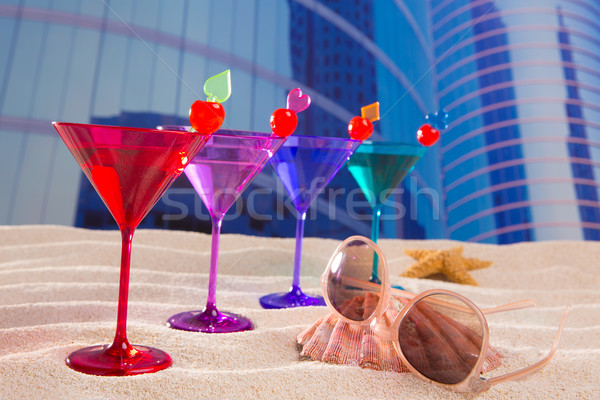 colorful cocktail in a row with cherry sand in urban city Stock photo © lunamarina