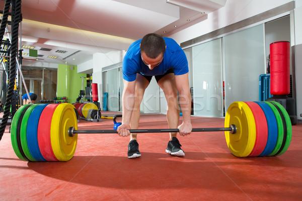 Crossfit fitnessz tornaterem nehéz súlyemelés bár Stock fotó © lunamarina