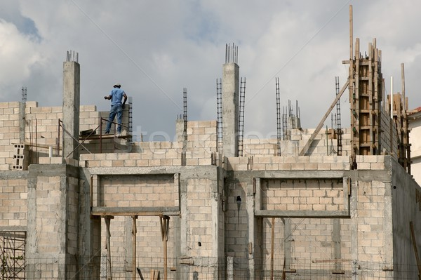 Building house with concrete blocks and columns in south Mexico Stock photo © lunamarina