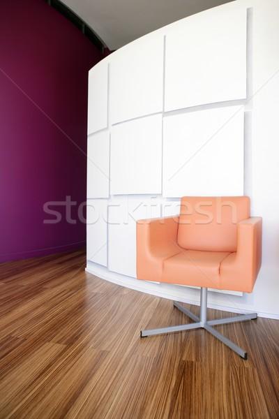 Nowoczesne biuro lobby pomarańczowy krzesło wystrój wnętrz Zdjęcia stock © lunamarina