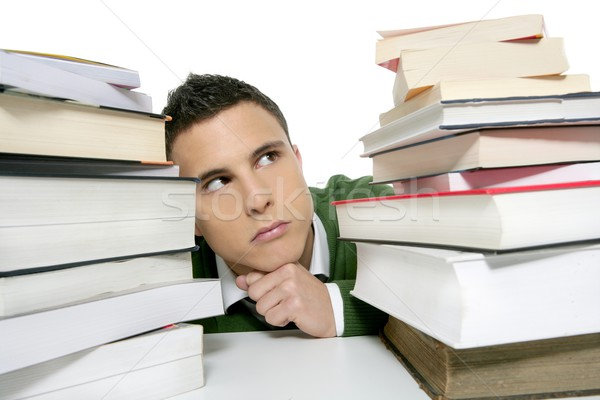 Foto stock: Jovem · infeliz · estudante · livros · lição · de · casa