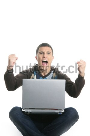 student happy laptop, success gesture expression Stock photo © lunamarina